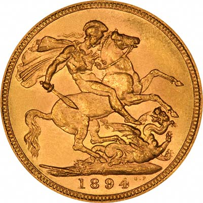 Reverse of 1894 Melbourne Mint Gold Sovereign
