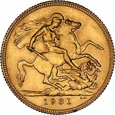 Reverse of 1931 Melbourne Mint Sovereign