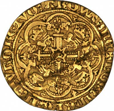 Obverse of Edward iii Gold Ryal or Rose Noble