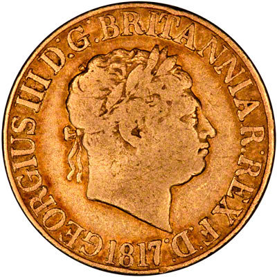 Obverse of 1817 George III Sovereign - aFine