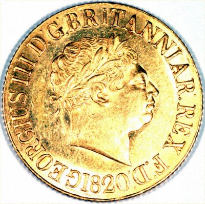 Obverse of 1820 George III Sovereign