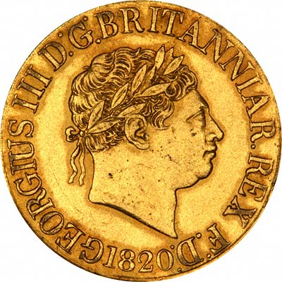 Obverse of 1817 George III Sovereign