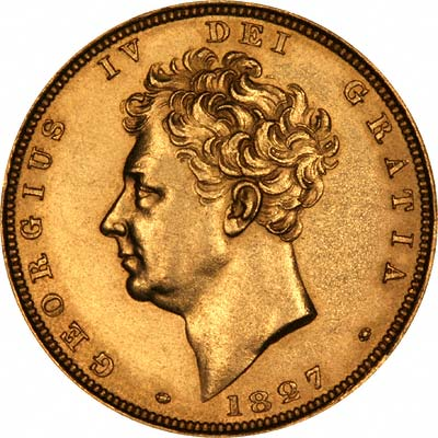 Bare Head Portrait on Obverse of 1827 George IV Sovereign