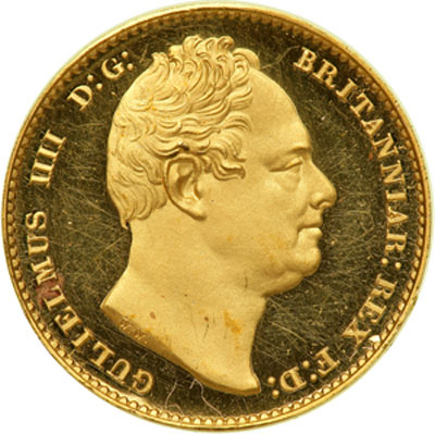 Obverse of 1830 William IV Proof Pattern Sovereign