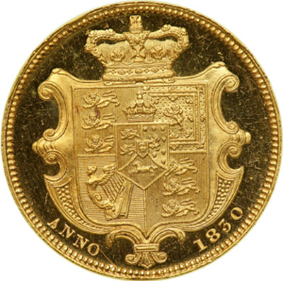 Reverse of 1830 William IV Proof Pattern Sovereign