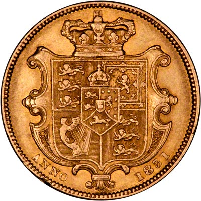 Reverse of 1832 William IV Sovereign