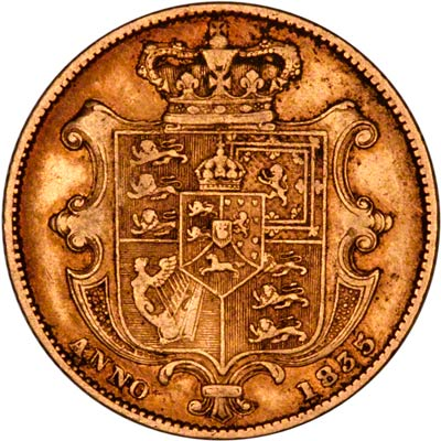 Reverse of 1835 Sovereign
