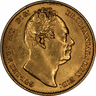 Obverse of 1832 William IV Sovereign