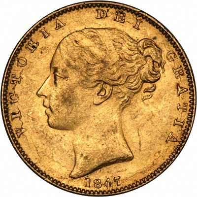 Obverse of 1847 Victoria Shield Sovereign First Head