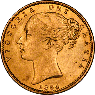 Obverse of 1854 Victoria Shield Sovereign with WW Incuse