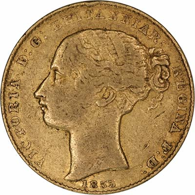 Obverse of 1855 Victoria Young Head Australian Sovereign