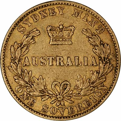 Reverse of 1855 Victoria Young Head Australian Sovereign