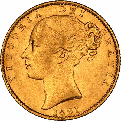 Obverse of 1861 Victoria Shield Sovereign with WW Incuse