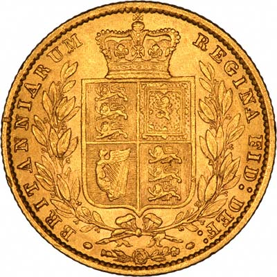 Reverse of 1861 Victoria Shield Sovereign Incuse WW Type