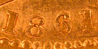 Obverse of 1861 Sovereign - Close Up of Date