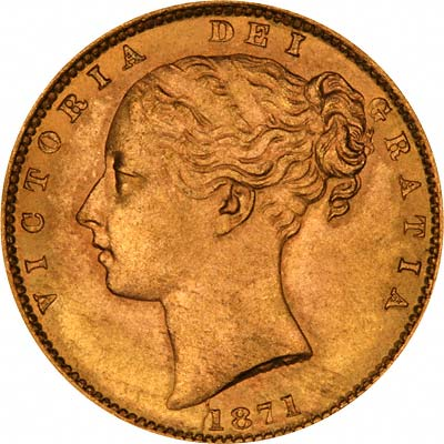 Obverse of 1871 Victoria Young Head Shield Sovereign