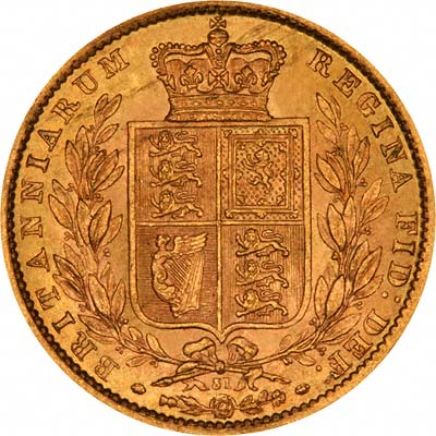 Reverse of 1871 Victoria Young Head Shield Sovereign with Die Number 31