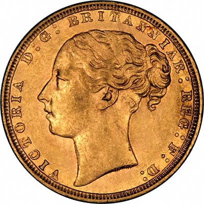 Obverse of 1871 Young Head St. George Reverse London Mint Gold Sovereign