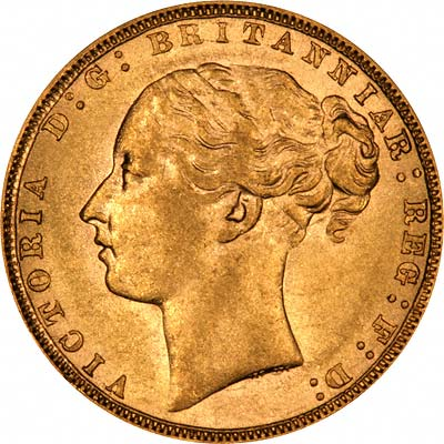 Obverse of 1872 London Mint Young Head St. George Reverse Gold Sovereign