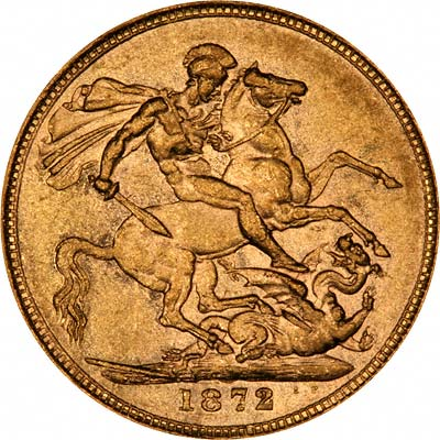 1872 Victoria Young Head Sovereign Saint George Reverse