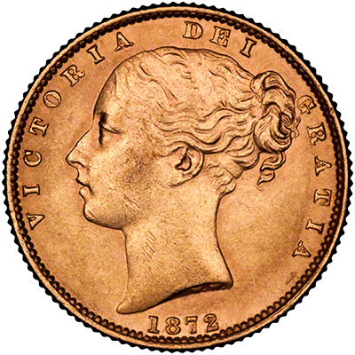 Obverse of 1872 Victoria Shield Sovereign
