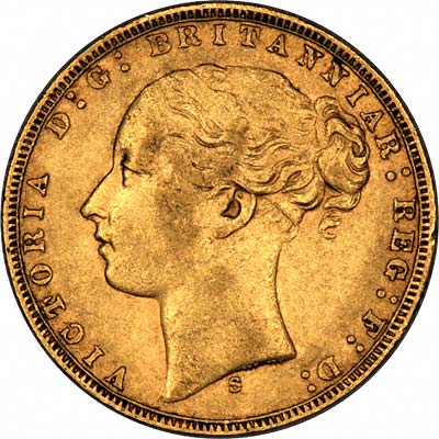 Obverse of 1873 Young Head St. George Reverse Sydney Mint Gold Sovereign