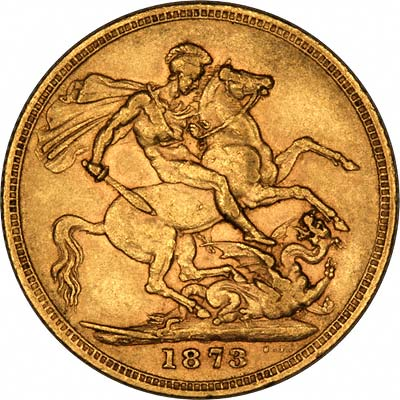 Reverse of 1873 Young Head St. George Reverse Sydney Mint Gold Sovereign