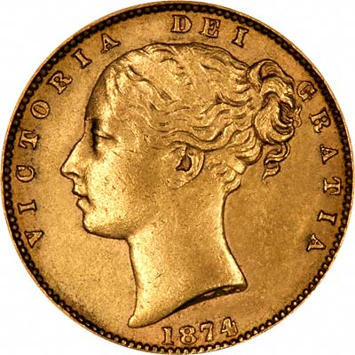 Obverse of 1874 Melbourne Mint Victoria Shield Sovereign