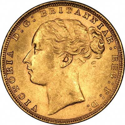 Obverse of 1876 Young Head St. George Reverse London Mint Gold Sovereign