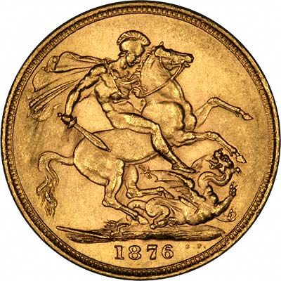 Reverse of 1876 Young Head St. George Reverse Gold Sovereign