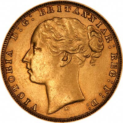 Obverse of 1877 Melbourne Mint Young Head St. George Reverse Gold Sovereign