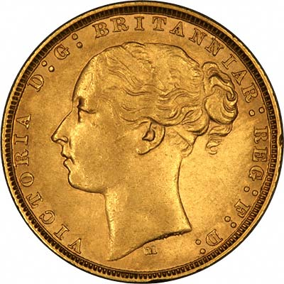 Obverse of 1878 Young Head St. George Reverse Melbourne Mint Gold Sovereign