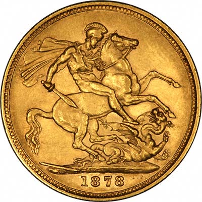 Reverse of 1878 Young Head St. George Reverse Melbourne Mint Gold Sovereign