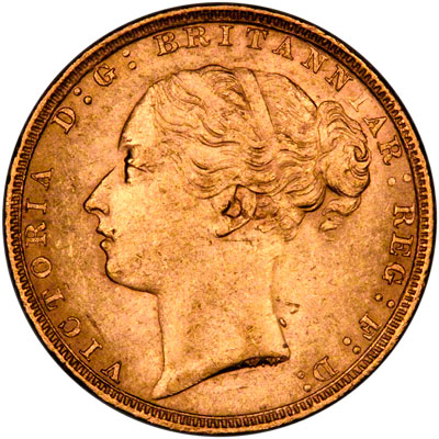 Obverse of 1880/70 Sovereign