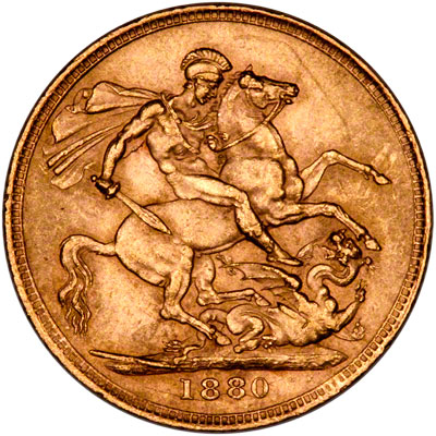 Reverse of 1880/70 Sovereign