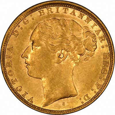 Obverse of 1881 Young Head St. George Reverse Sydney Mint Gold Sovereign