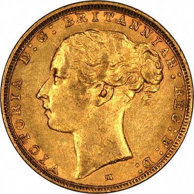 Low 'M'  on Obverse of 1882 Melbourne Mint Young Head St. George Reverse Gold Sovereign