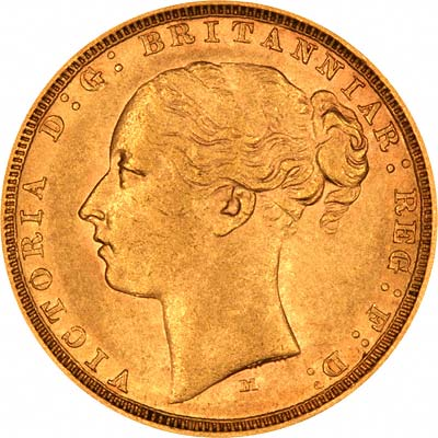 Obverse of 1882 Melbourne Mint Young Head St. George Reverse Gold Sovereign