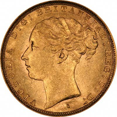 Obverse of 1882 Sydney Mint Young Head St. George Reverse Gold Sovereign