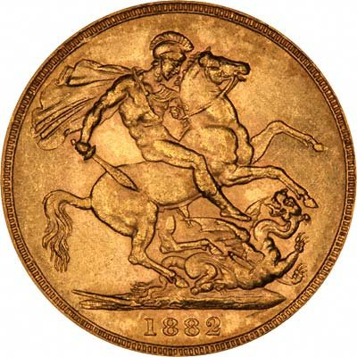 Reverse of Young Head St. George Reverse Gold Sovereign