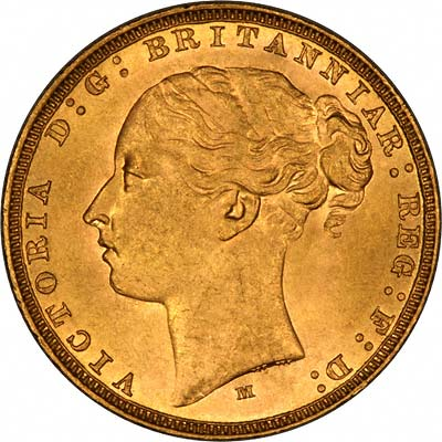 Obverse of 1883 Young Head St. George Reverse Gold Sovereign