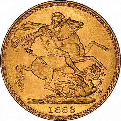 Reverse of 1883 Young Head St. George Reverse Gold Sovereign