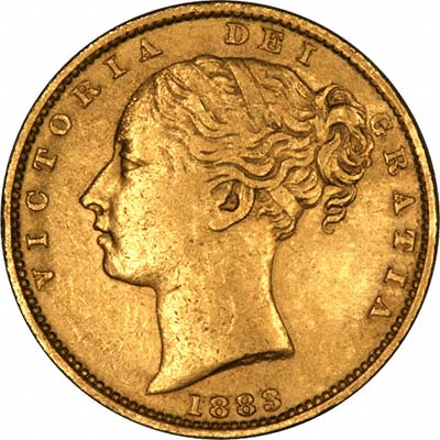 Obverse of 1883 Young Head Shield Reverse Gold Sovereign