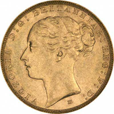 Obverse of 1884 Melbourne Mint Young Head St. George Reverse Gold Sovereign