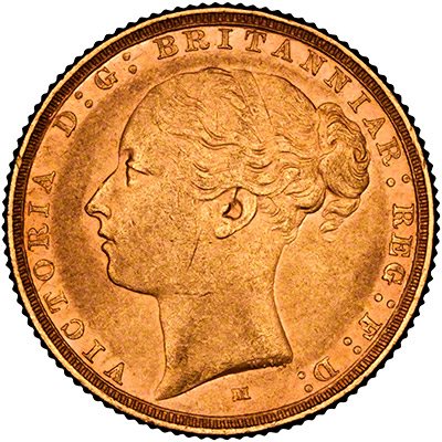 Reverse of 1872 Victoria Shield Sovereign