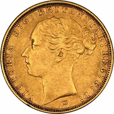 Obverse of 1886 Young Head St. George Reverse Melbourne Mint Gold Sovereign