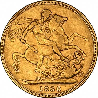Reverse of 1886 Young Head St. George Reverse Melbourne Mint Gold Sovereign