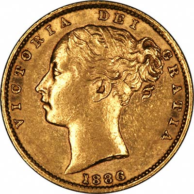 Obverse of 1886 Young Head Shield Reverse Gold Sovereign