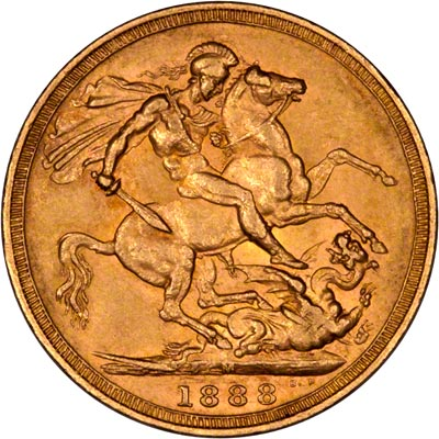 Reverse of 1888 Melbourne Mint Sovereign