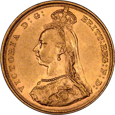 Obverse of 1888 Sydney Mint Sovereign
